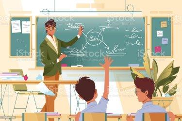 3 884 Teacher Classroom Teaching Students Cartoon Illustrations Royalty Free Vector Graphics & Clip Art iStock