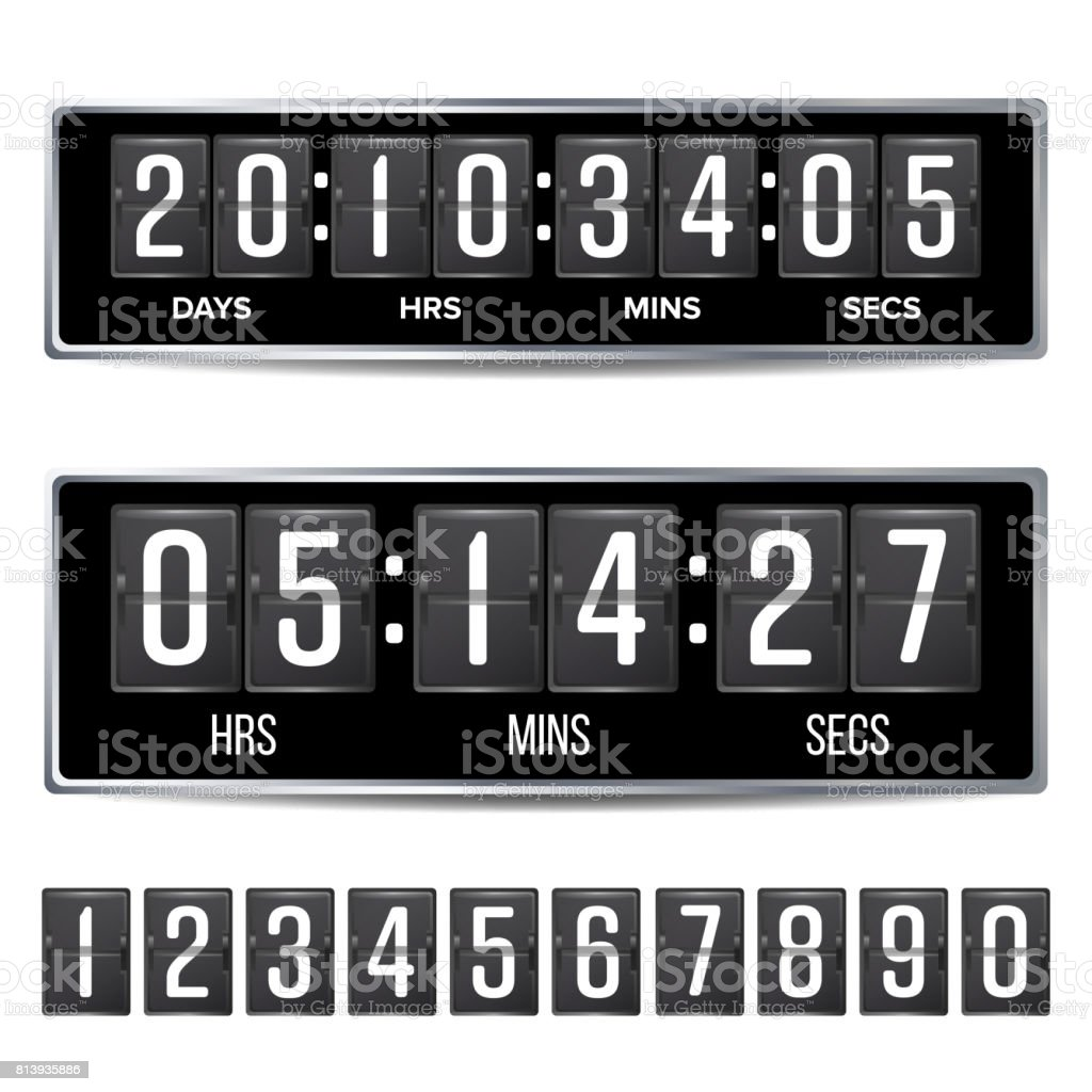 Flip Countdown Timer Vector. Analog Black Digital Scoreboard Template. With  Days, Hours,