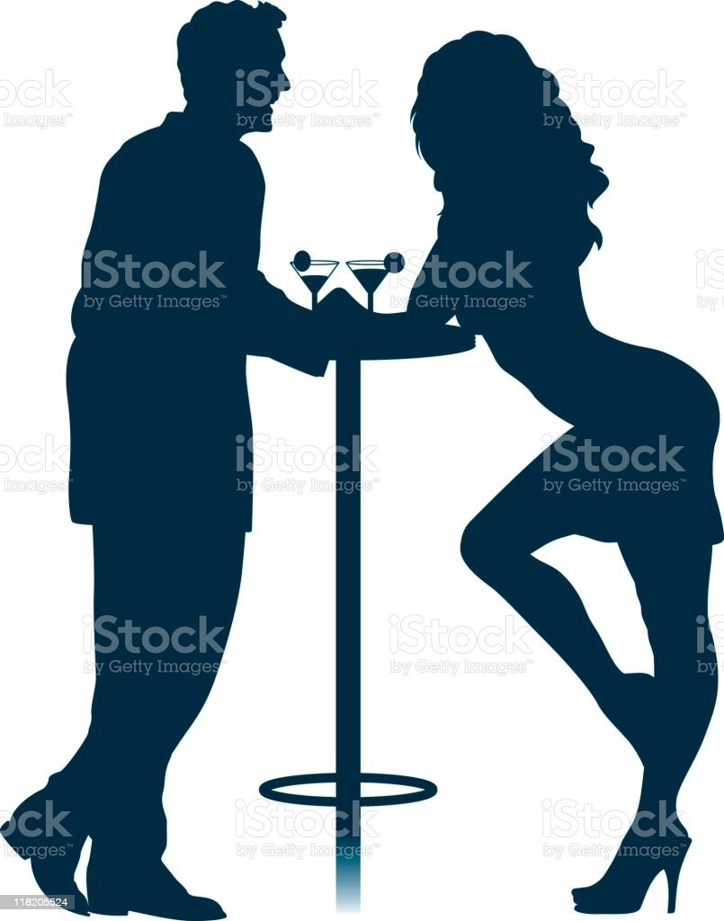 royalty free couple flirting bar