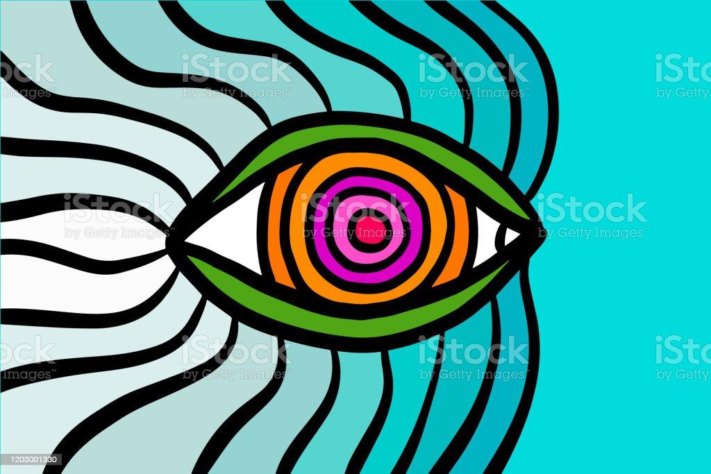 fond decran psychedelique flottant doeil dans le modele bleu turquoise bleu de bande dessinee de dessin anime orange pourpre vecteurs libres de droits et plus d images vectorielles de affiche istock
