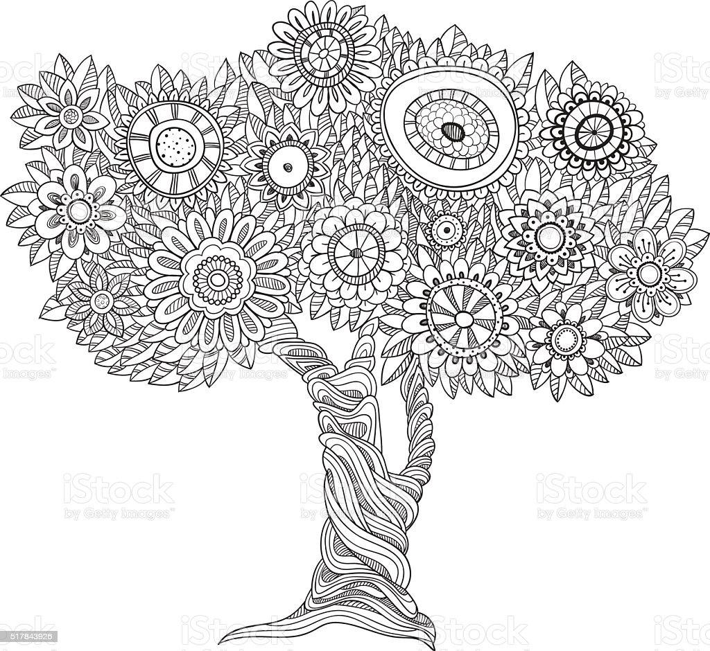 https www istockphoto com fr vectoriel arbre fleuri noir et blanc gm517843926 89686439