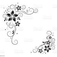 Floral Corner Design Ornament Black Flowers On White ...