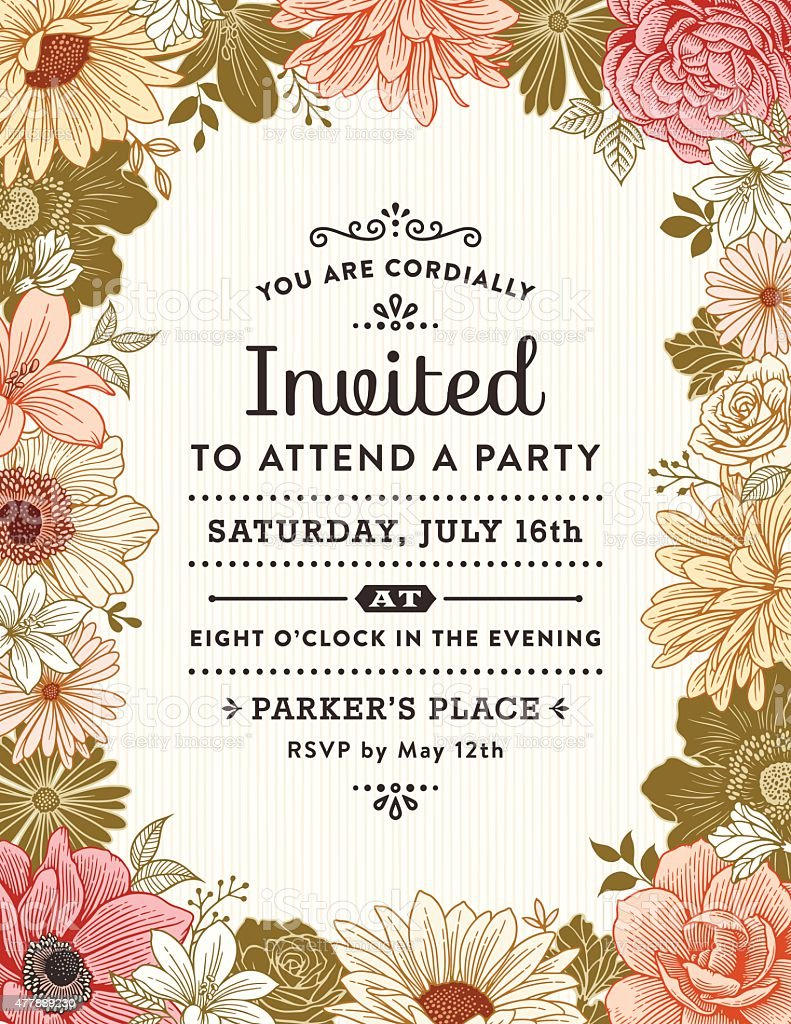 Floral Frame Invitation Stock Vector Art & More Images Of