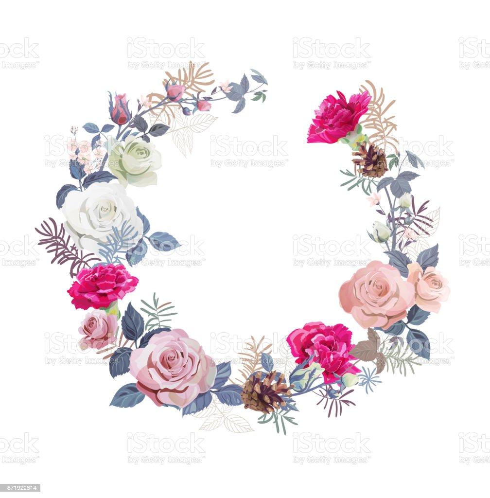 Blumenkranz Mit Strau Wei Rosa Rosen Rote Nelken Kleine