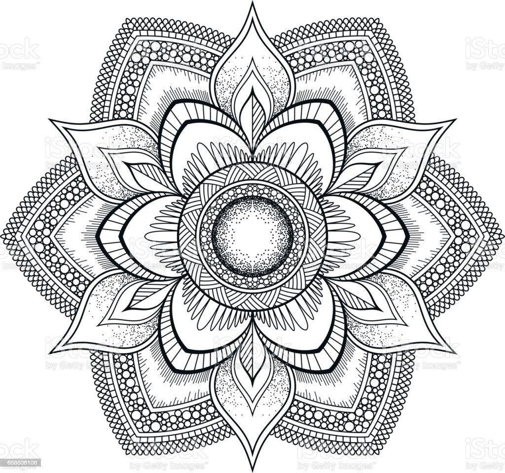 Mandala Fleur Noir Motif Oriental Illustration Vectorielle