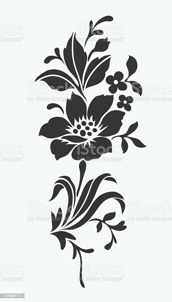 Flower Isolated On Whiteflower Motif Design Stock Vector
