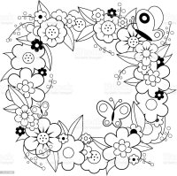 Flower Wreath Coloring Book Page Stock Vector Art & More ...