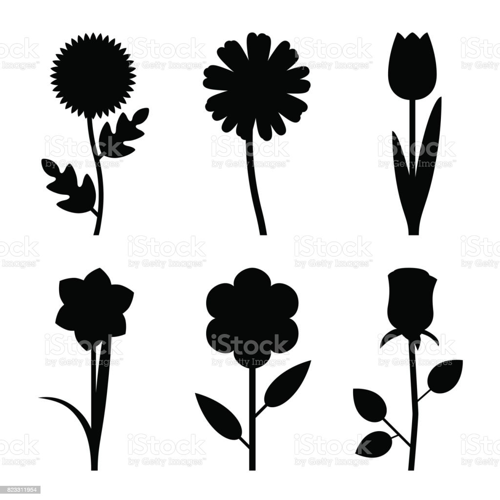 flower silhouettes illustrations