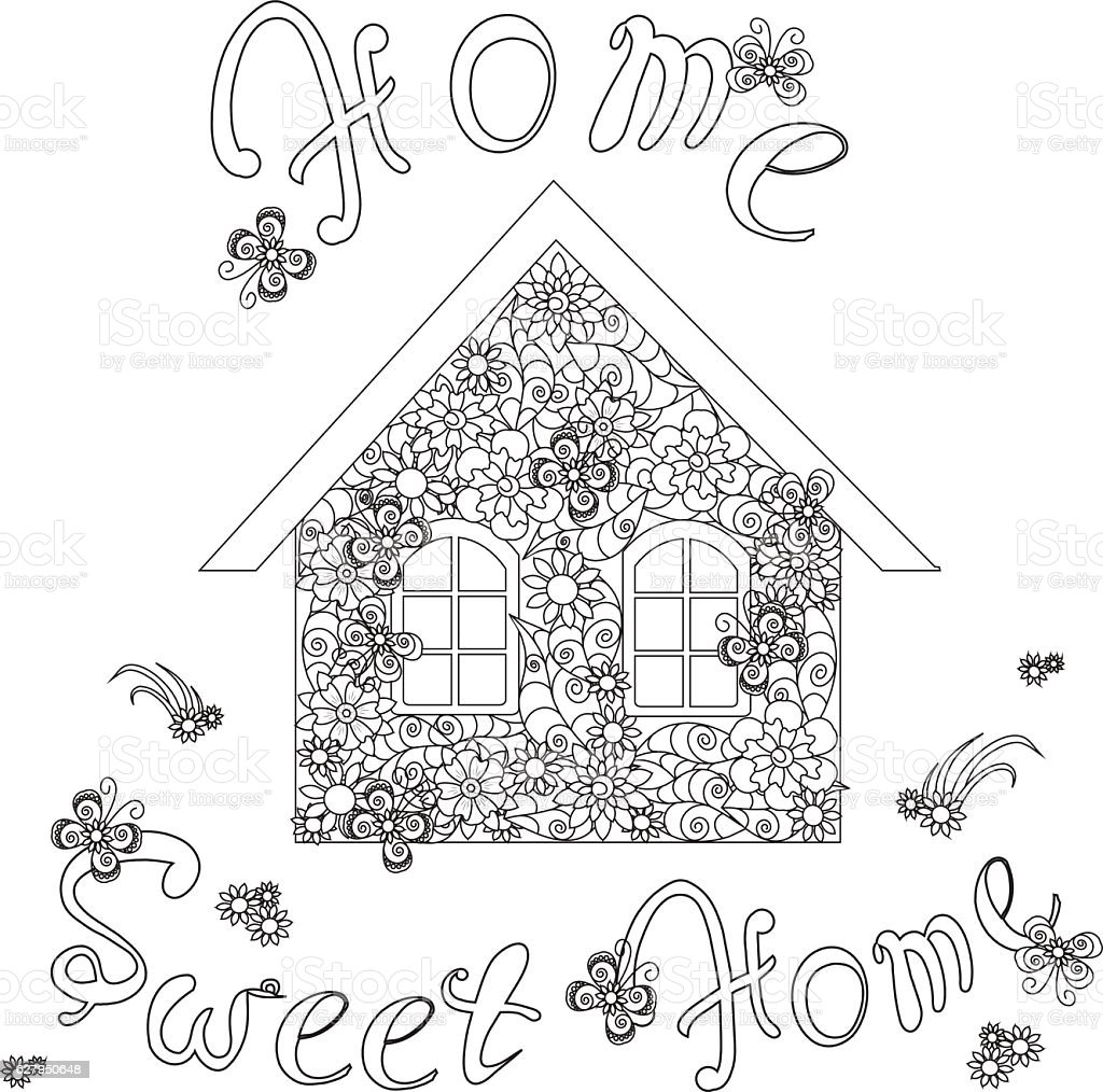 Flowers House With Lettering Home Sweet Home For Coloring
