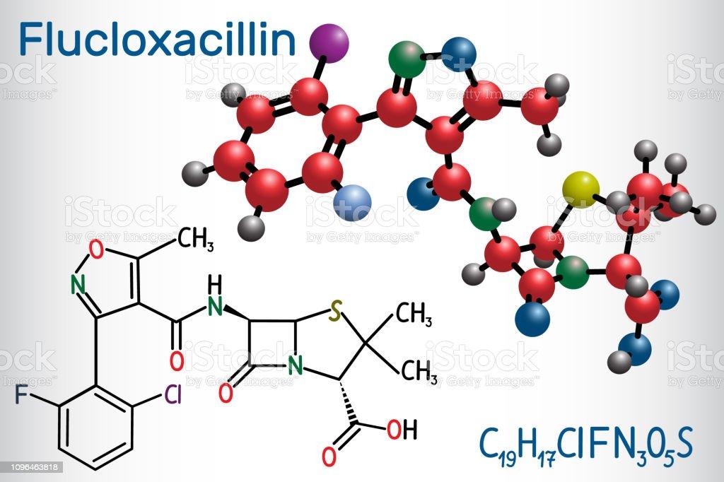 Flucloxacillin Molecule It Is Betalactam Antibiotic Of The Penicillin Class Structural Chemical Formula And Molecule Model Stock Illustration ...