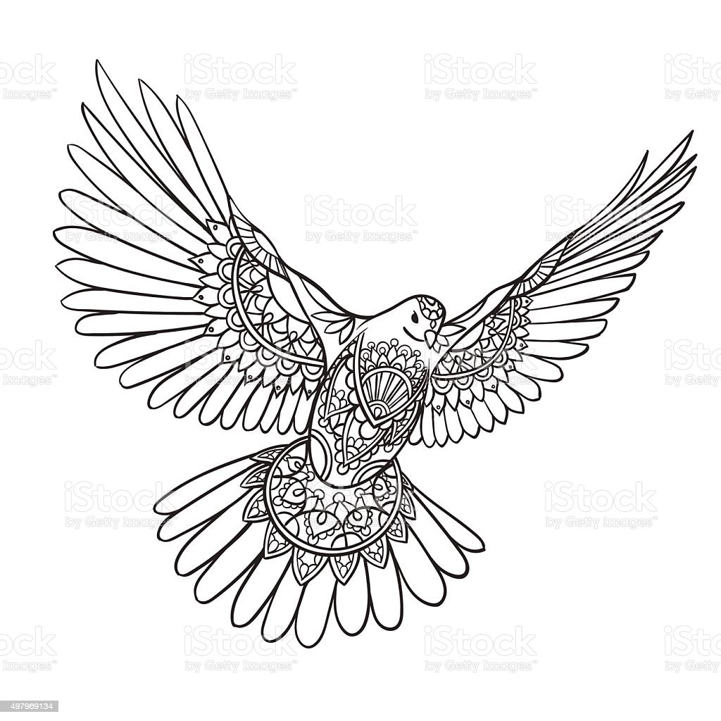 Flying Dove With Spread Wings In Ethnic Patterns Stock