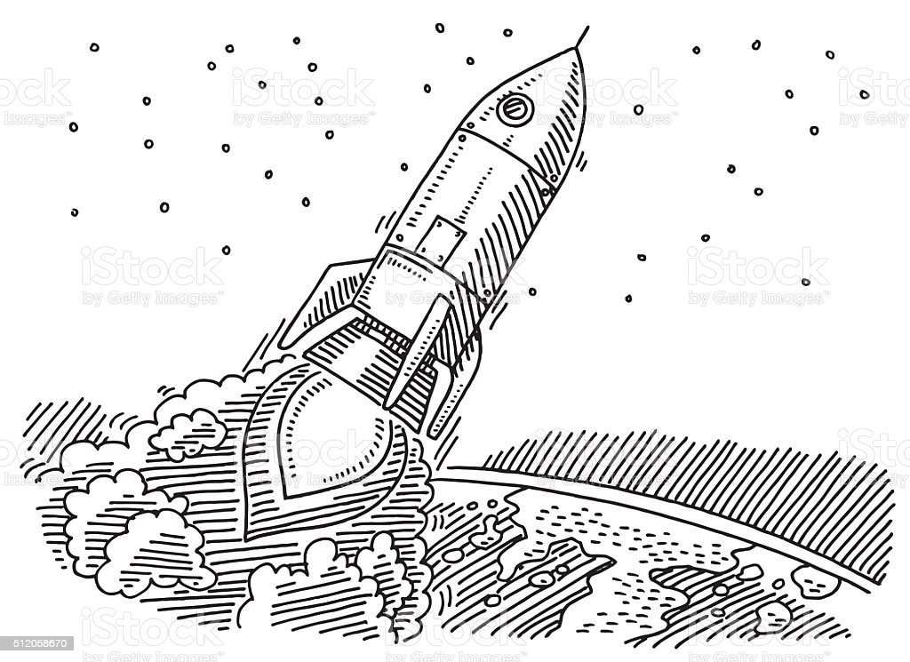 Flying Rocket Leaving Planet Earth Drawing stock vector