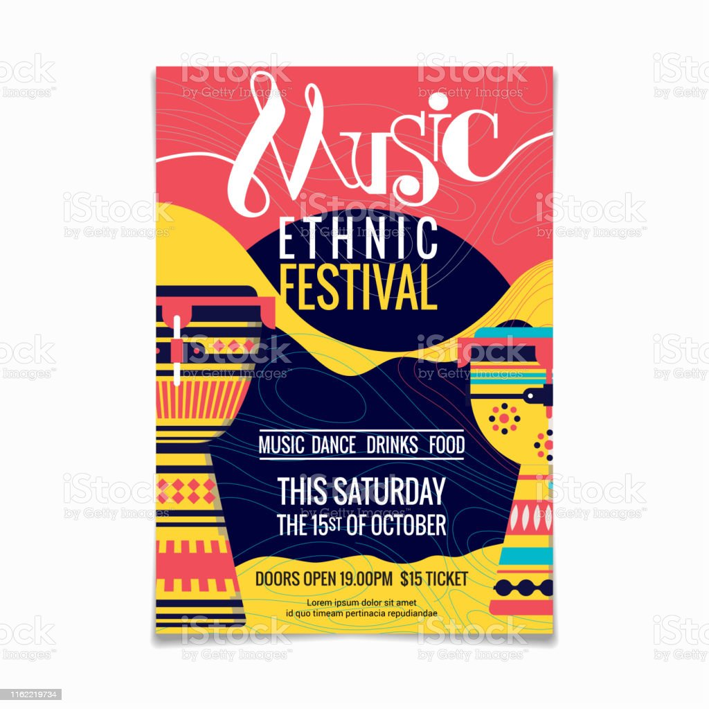 folk music festival or ethnic music poster design template of stock images page everypixel