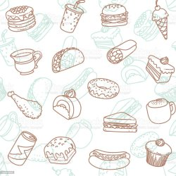 Food Drink Line Art Icon Seamless Wallpaper Pattern Stock Illustration Download Image Now iStock