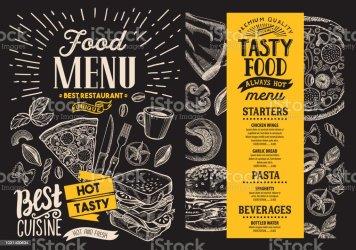 background flyer menu food restaurant vector blackboard illustration hand template brunch brochure drawn illustrations breakfast aid visual spain