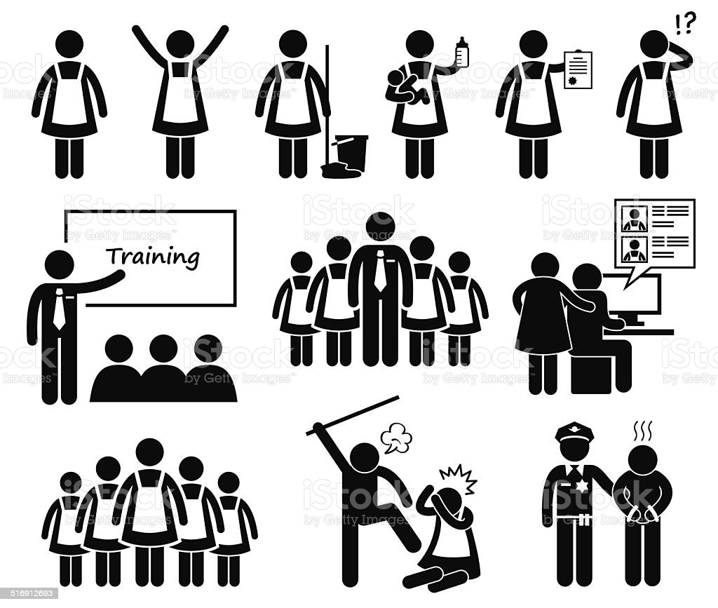 Foreign Maid Agency Stick Figure Pictogram Icons Stock