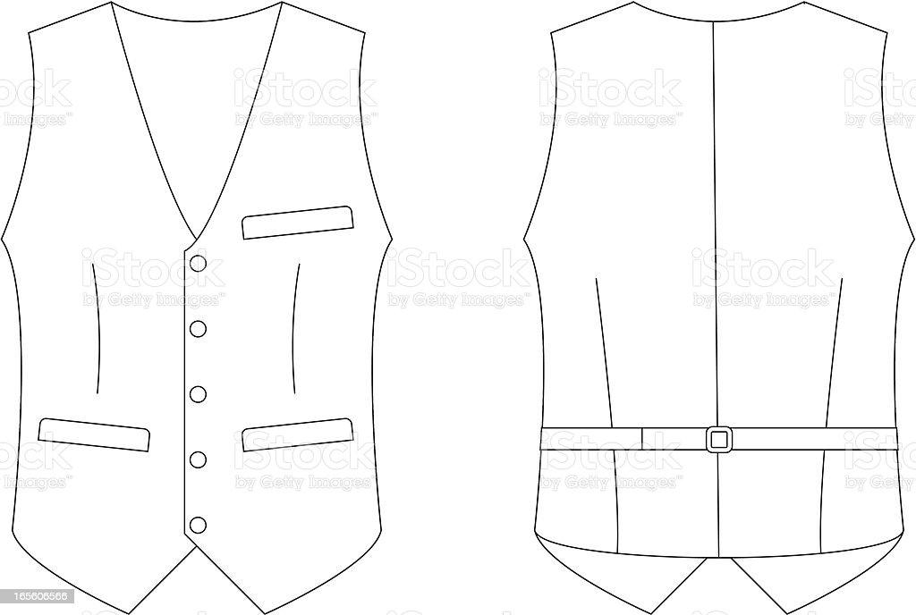 Formal Waistcoat Template Front Back Stock Illustration
