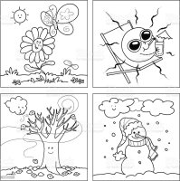 Four Seasons Coloring Vector Stock Illustration   Download ...