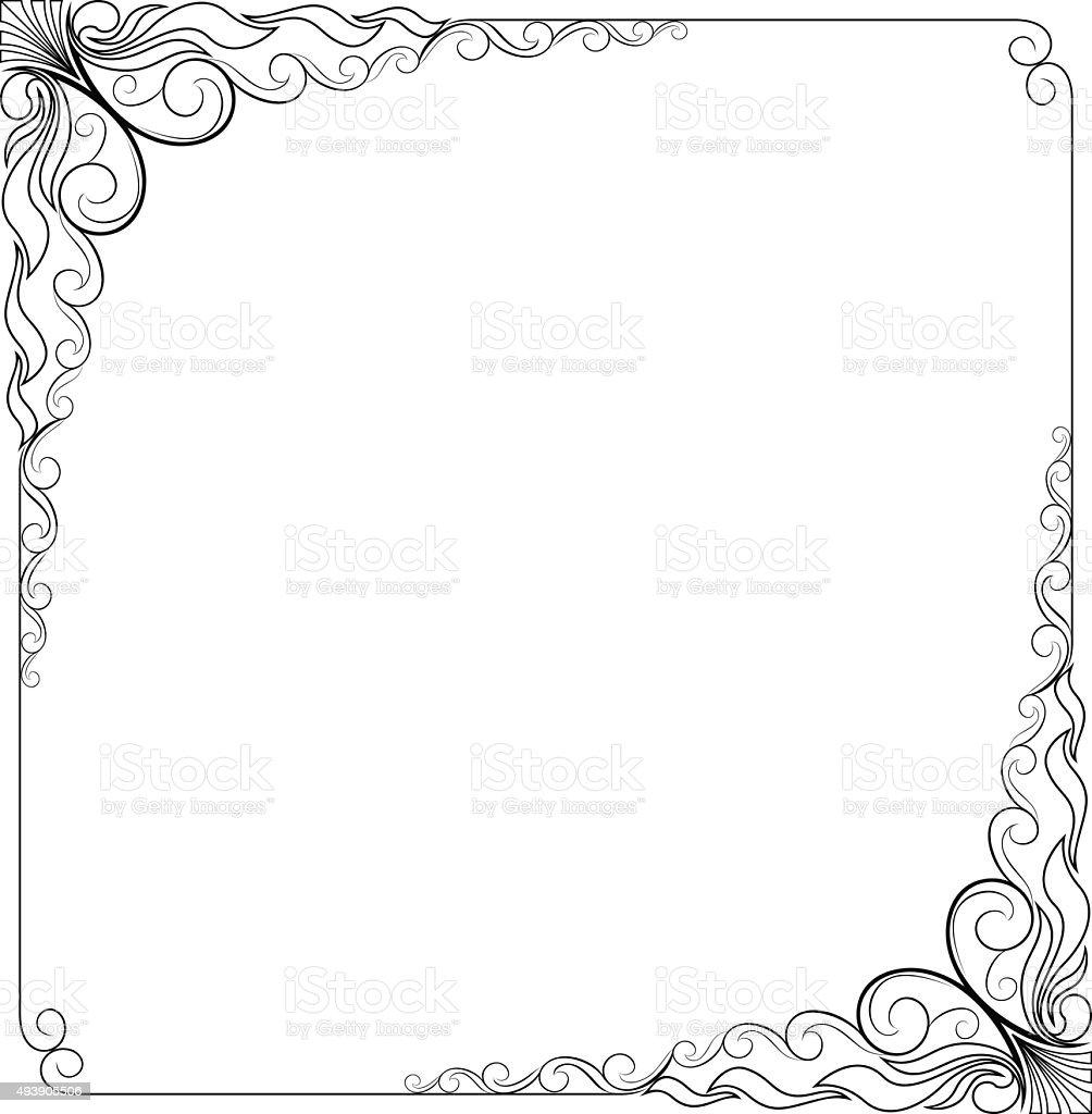 Moldura Floral Preto E Branco Artístico Download Vetor e