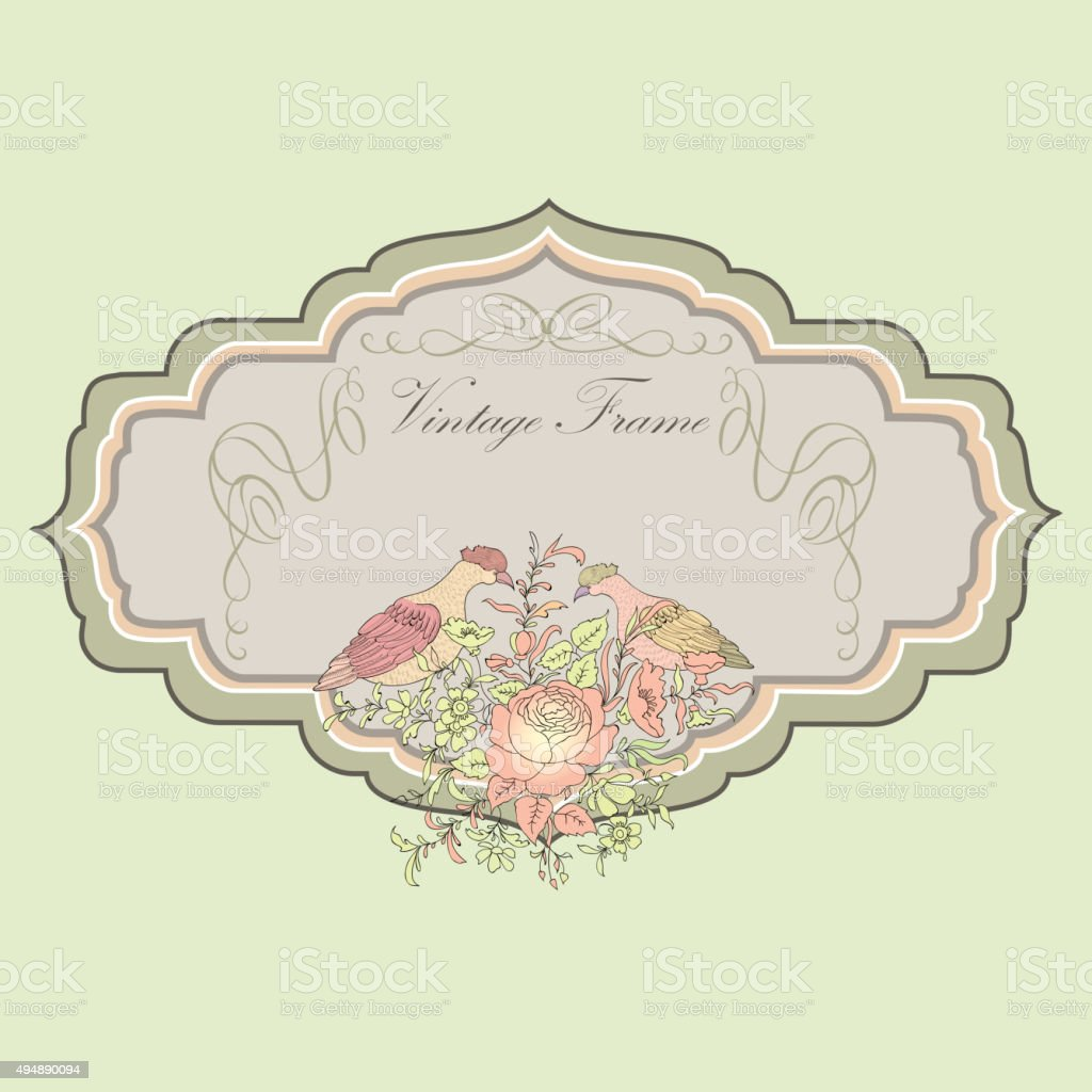 hight resolution of floral spring card birds and flowers vintage label illustration