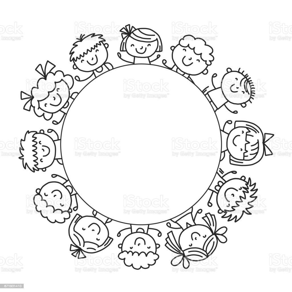 Frame With Kids School Kindergarten Happy Children
