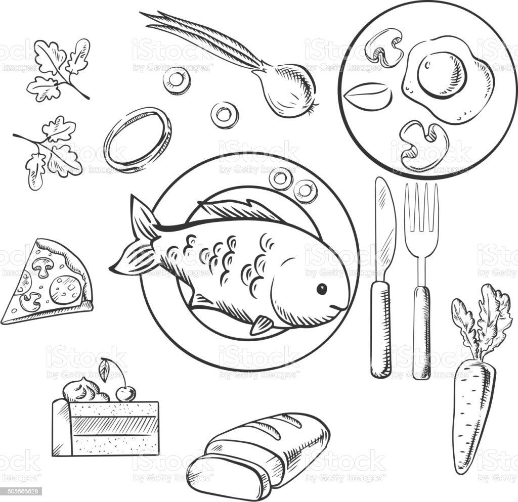 저녁 신선한 음식을 스케치 벡터 아이콘 건강관리와 의술에 대한 스톡 벡터 아트 및 기타 이미지