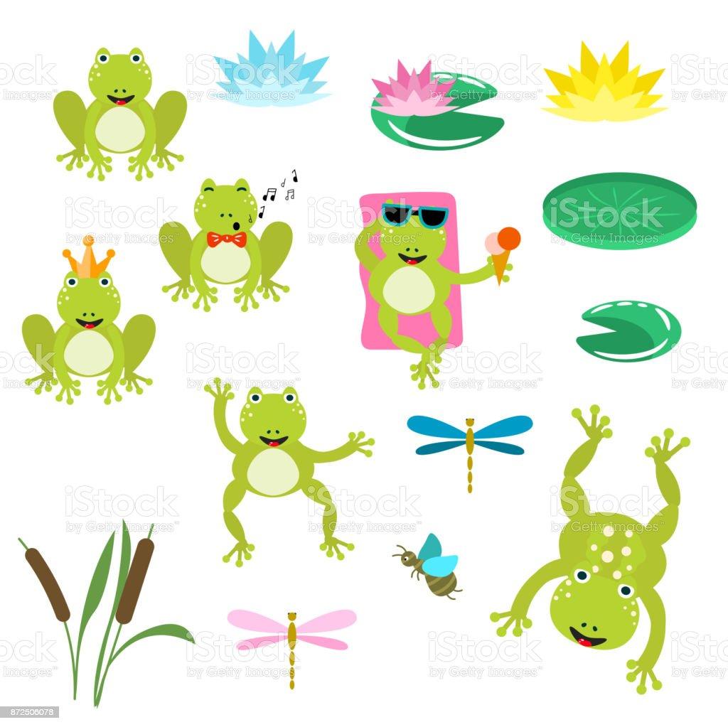 hight resolution of frogs cartoon clipart vector set illustration