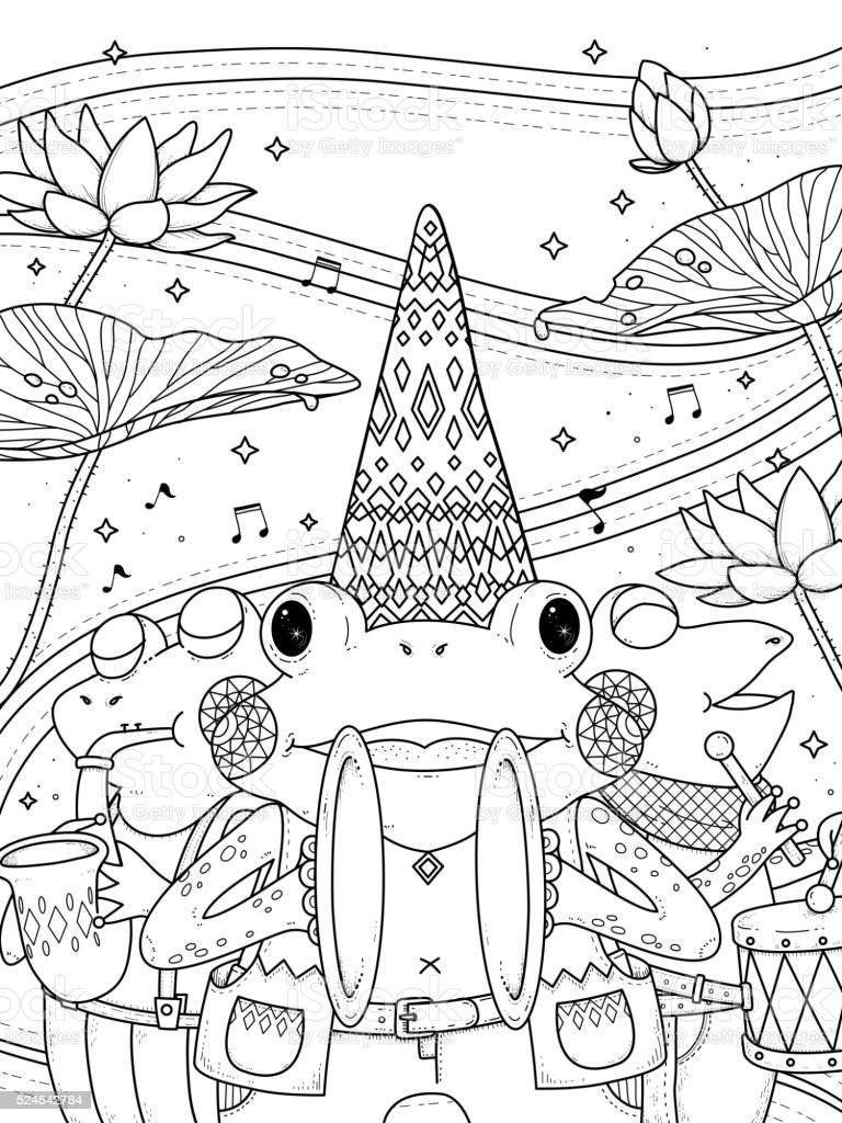Frogs Music Band Adult Coloring Page Stock Vector Art