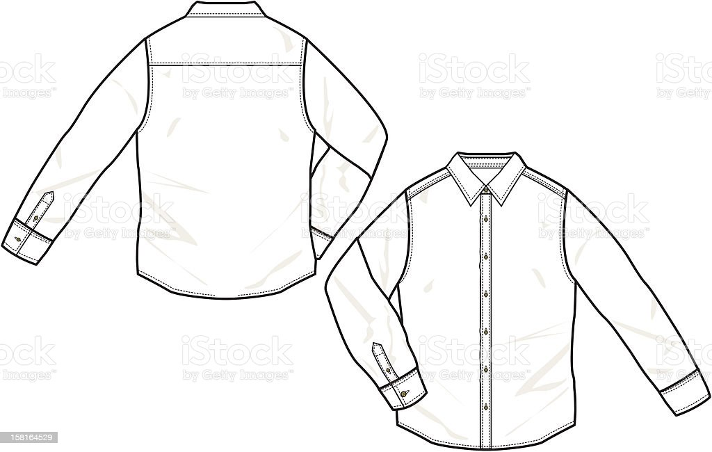 Front And Back Drawing Of A Long Sleeve Shirt Stock Vector