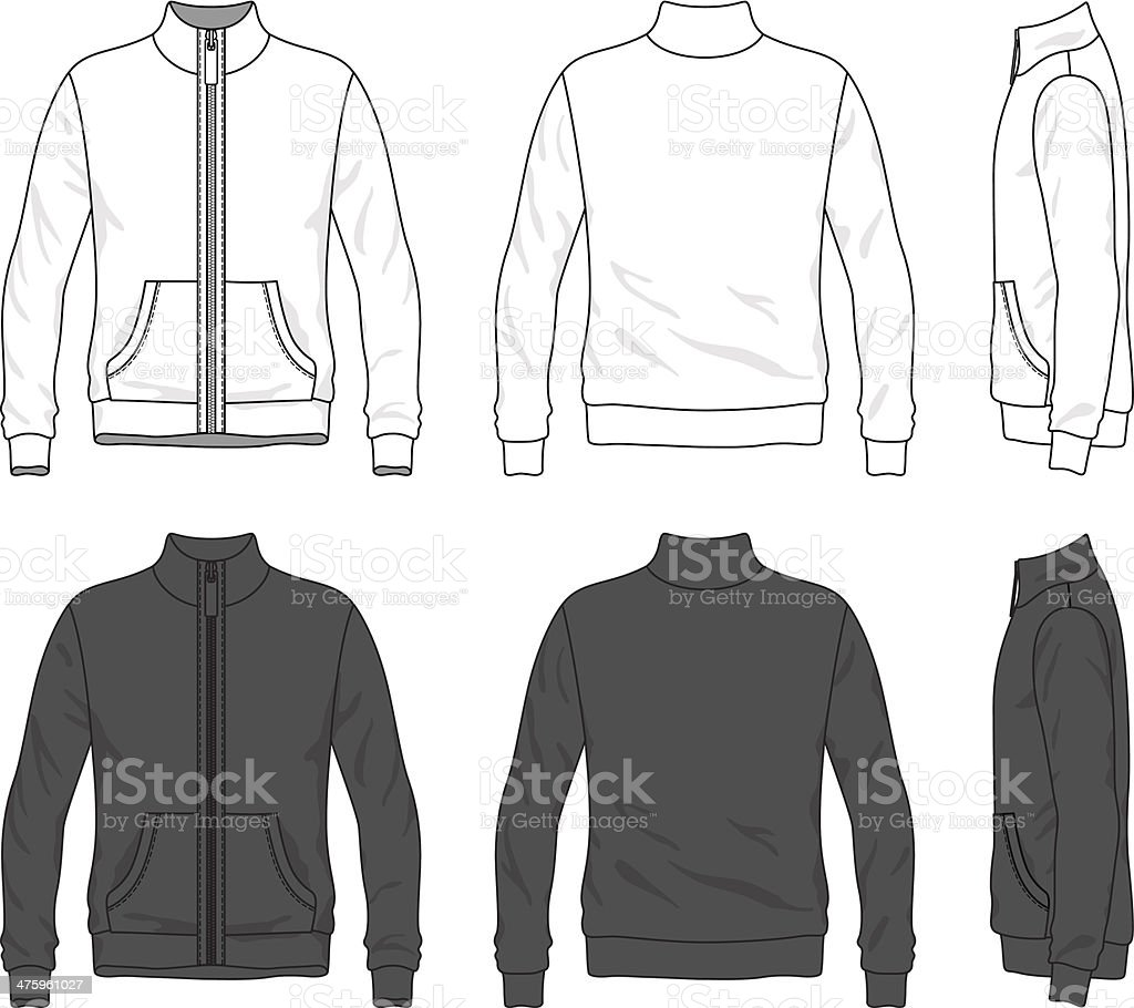 Front Back And Side Views Of Blank Jacket With Zipper