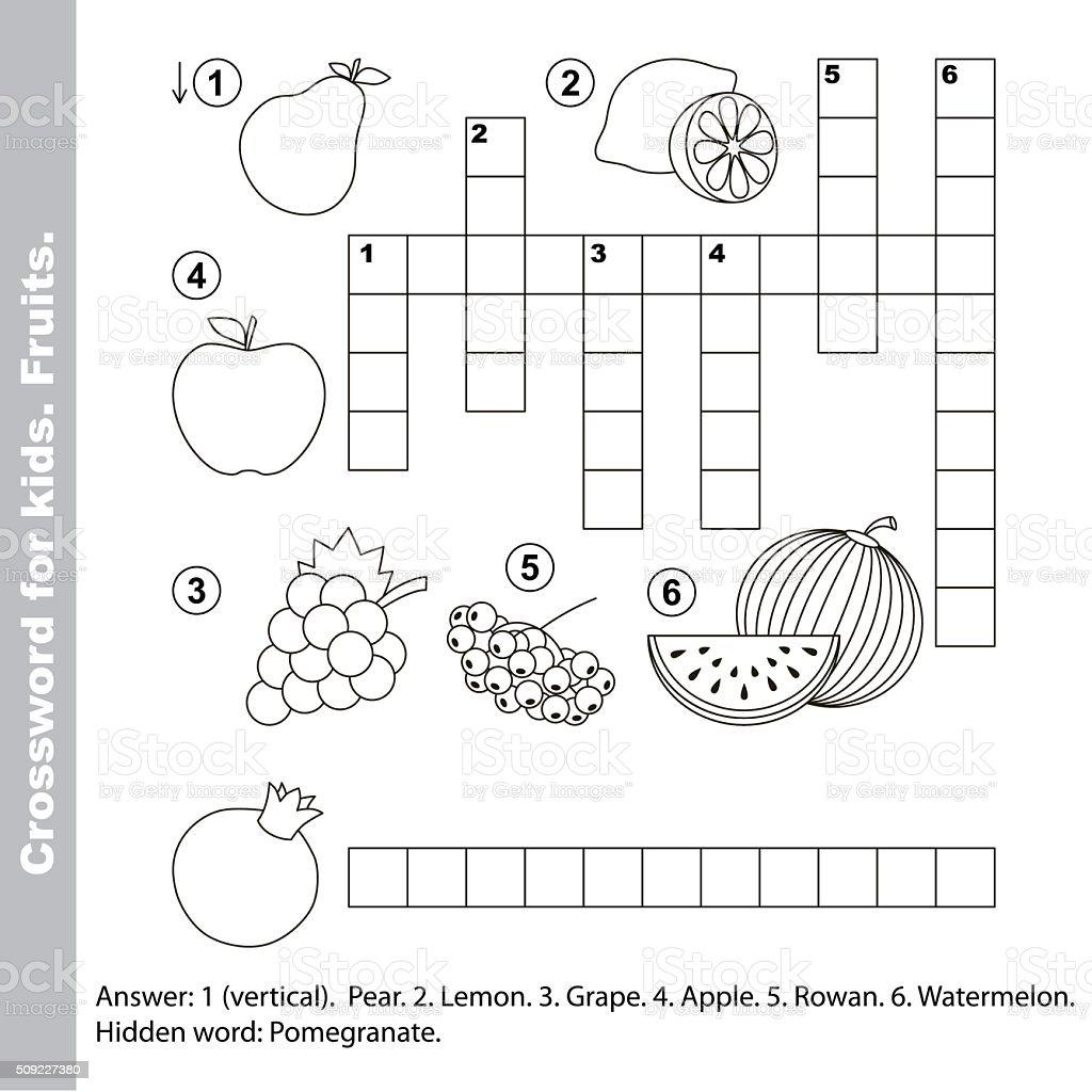 Fruit Crossword For Kids Stock Vector Art & More Images of