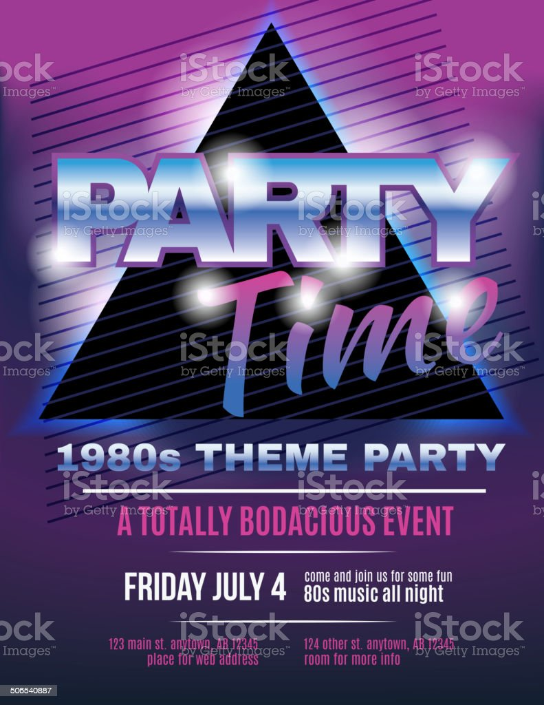 Funky 1980S Theme Party Flyer Template Invitation Royalty-Free Funky 1980S  Theme Party Flyer Template