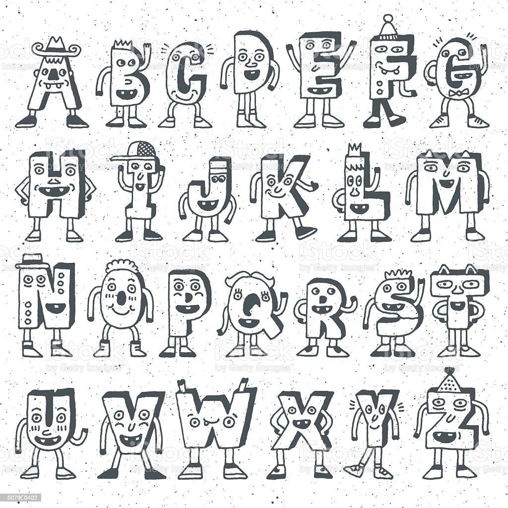 Abc Funny Alphabet Characters Wacky Doodle Letters Design