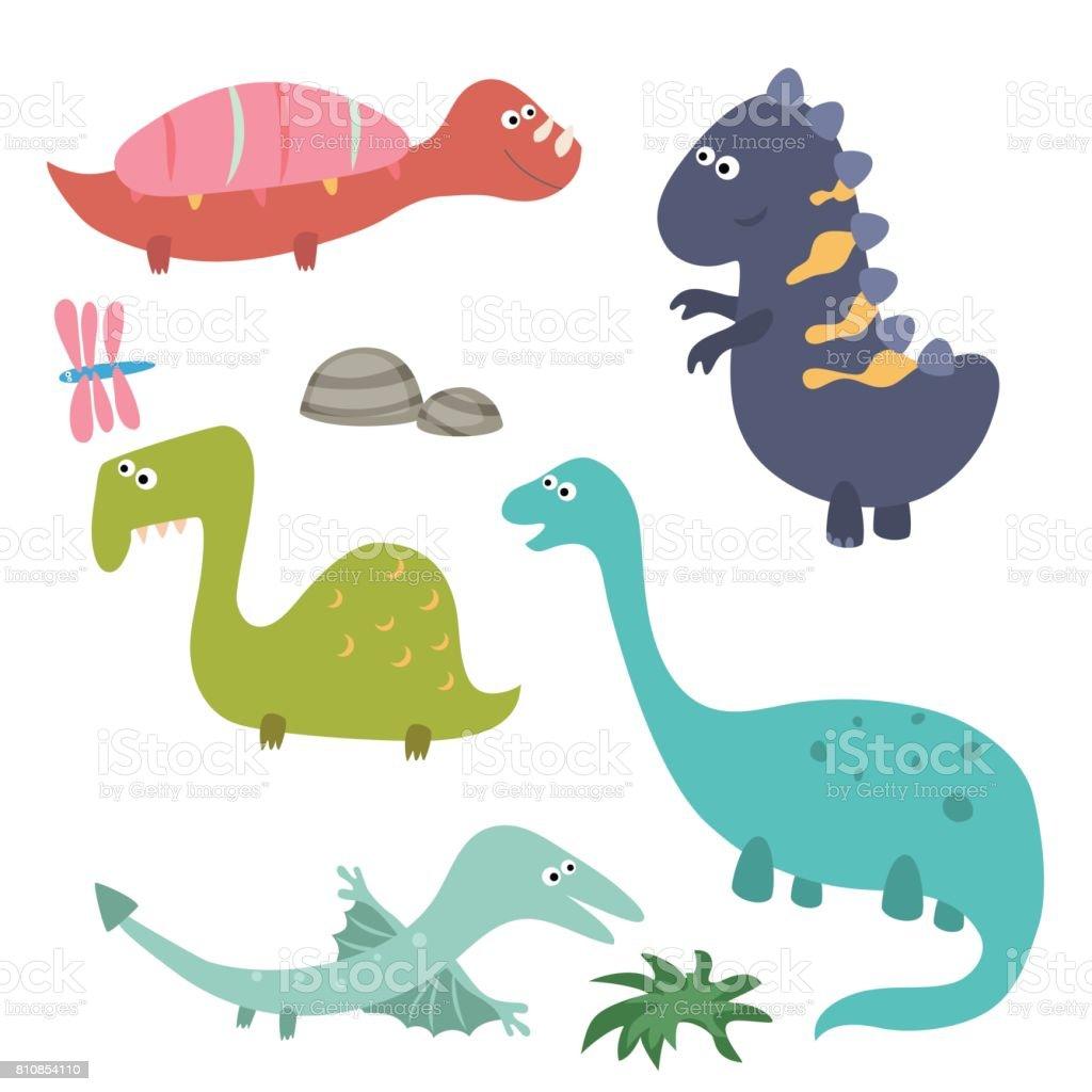可愛的卡通恐龍 向量插圖及更多 一群動物 圖片 810854110   iStock