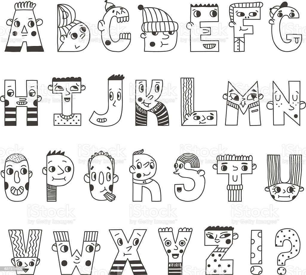 Funny Handwritten Cartoon Alphabet Cute Characters Letters