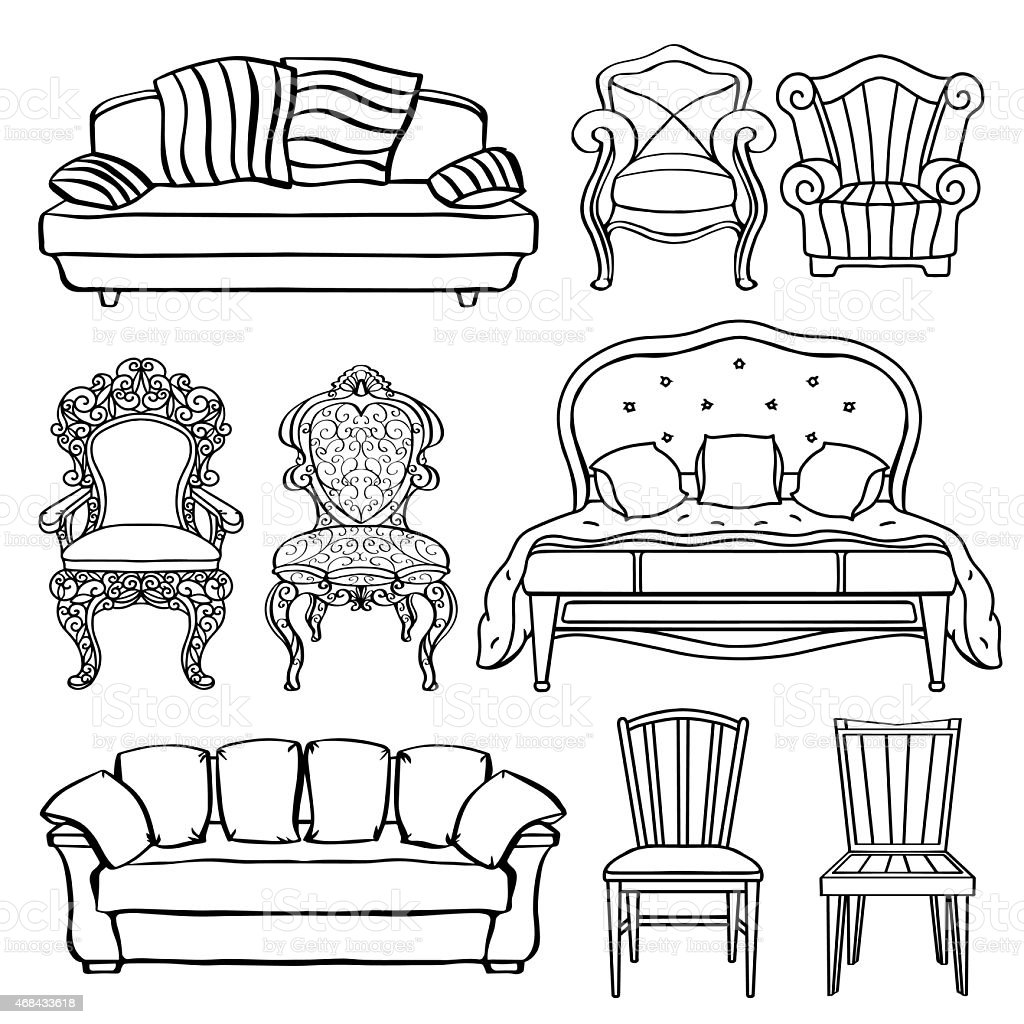 Furniture Set Armchair Sofa Bed Chair Throne Stock Vector