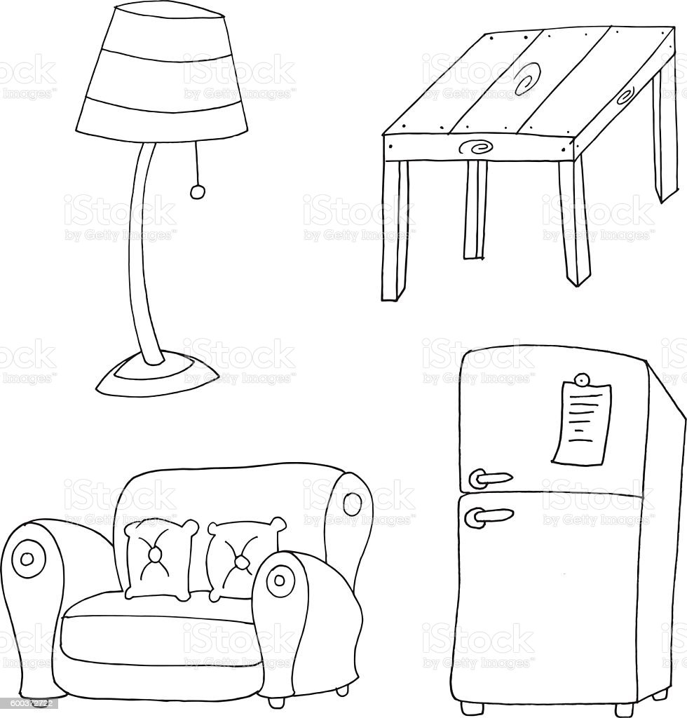 Furniture Sketch Drawing For Colouring Book Stock Vector