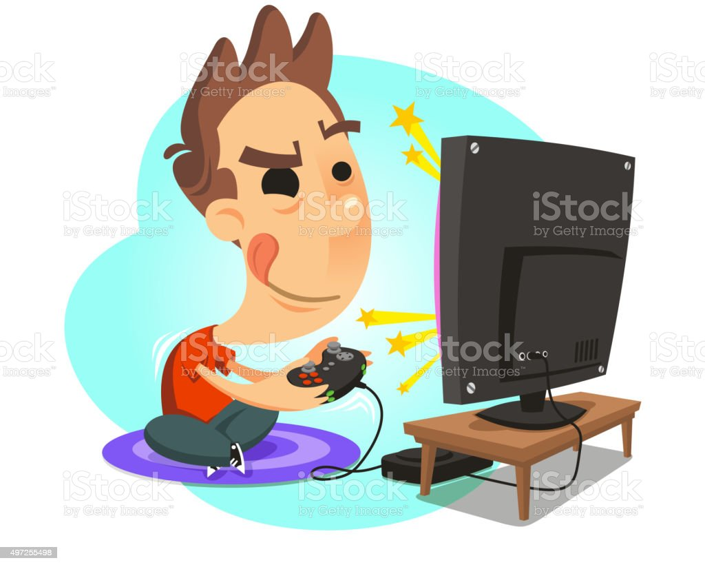 Playing Video Games Clip Art Vector Images