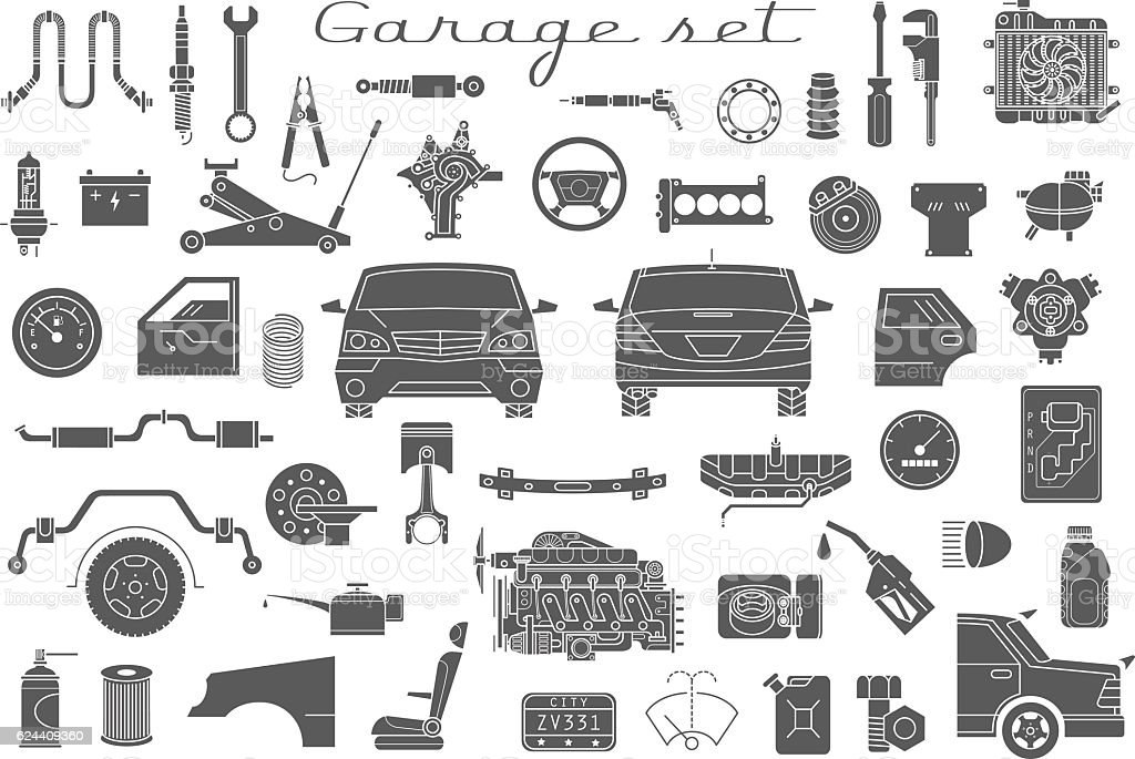 Garage Vector Car Parts Set Outline Details Isolated Stock