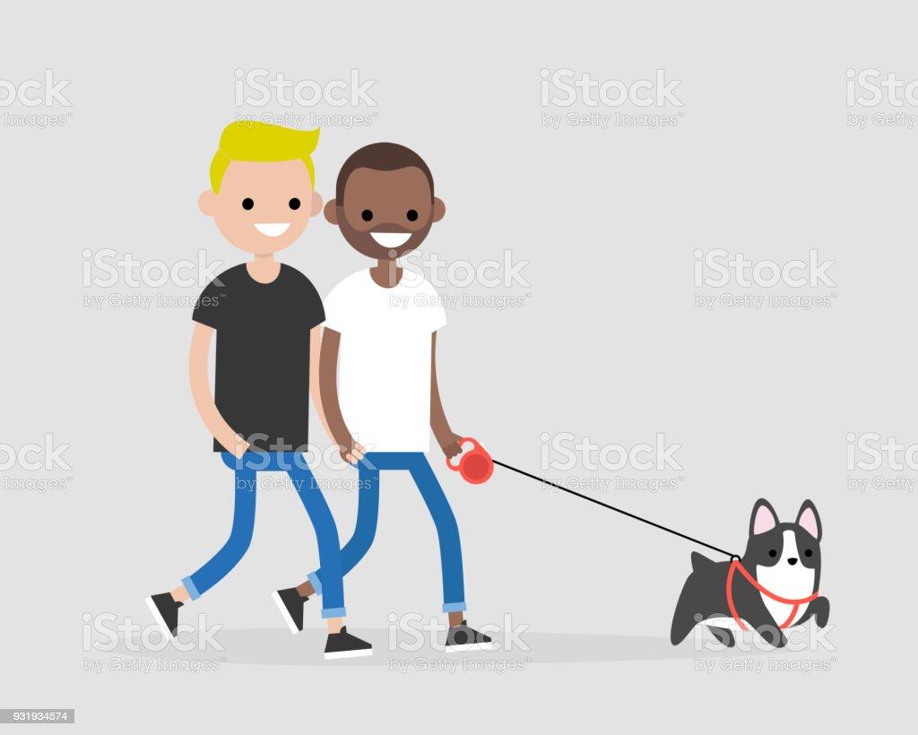 hight resolution of casal gay passeando com um cachorro vida di ria dos propriet rios do animal de estima o