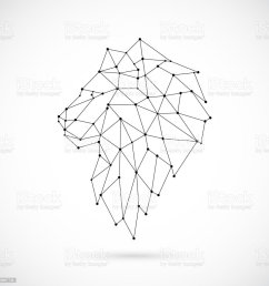 geometric lion silhouette image of lion in the form of constellation vector illustration  [ 1024 x 1024 Pixel ]