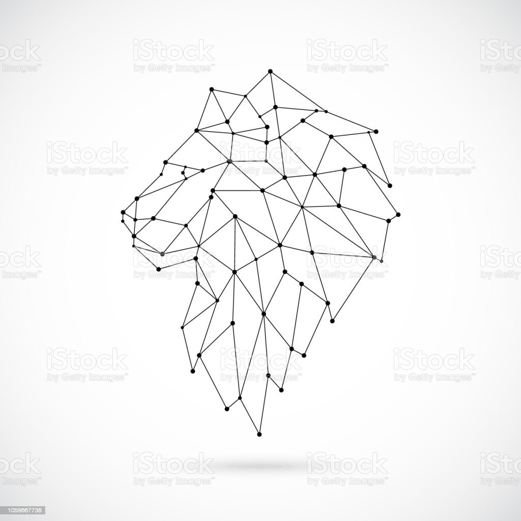 hight resolution of geometric lion silhouette image of lion in the form of constellation vector illustration