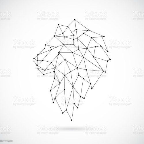 small resolution of geometric lion silhouette image of lion in the form of constellation vector illustration