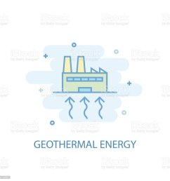 geothermal energy line trendy icon simple line colored illustration geothermal energy symbol flat [ 1024 x 1024 Pixel ]