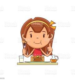 girl eating pancakes royalty free girl eating pancakes stock vector art amp more images [ 1024 x 1024 Pixel ]