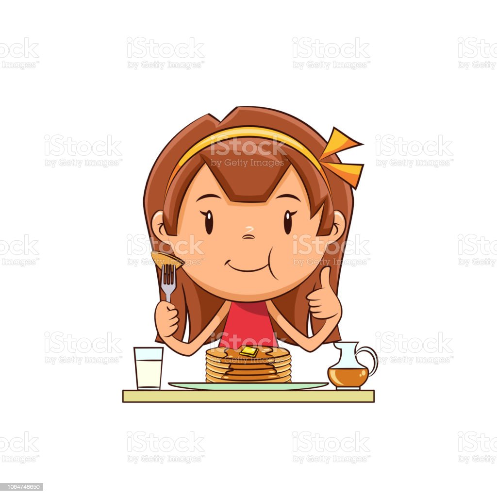 hight resolution of girl eating pancakes royalty free girl eating pancakes stock vector art amp more images