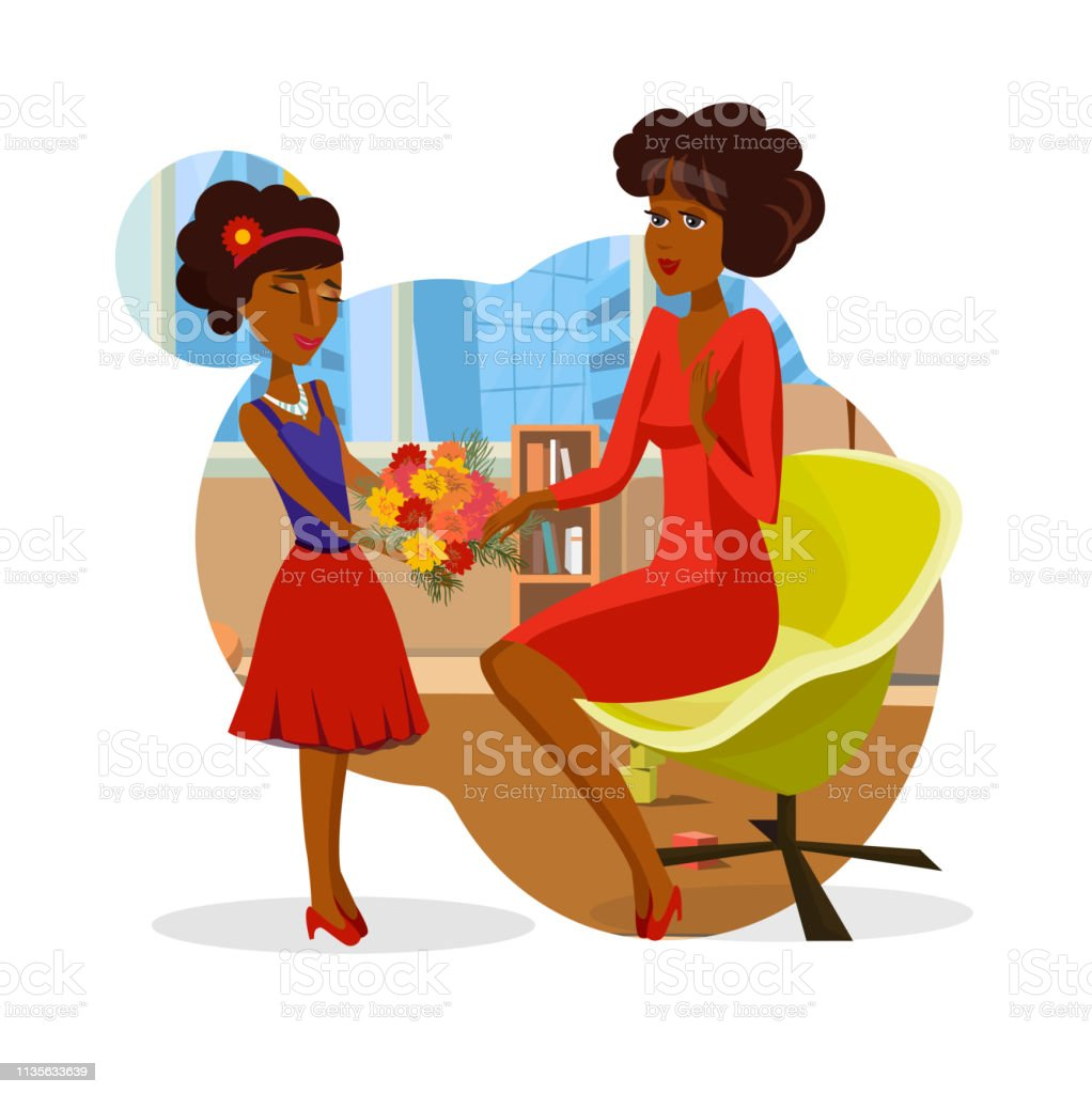 hight resolution of girl giving mom bunch of flowers vector clipart royalty free girl giving mom bunch of