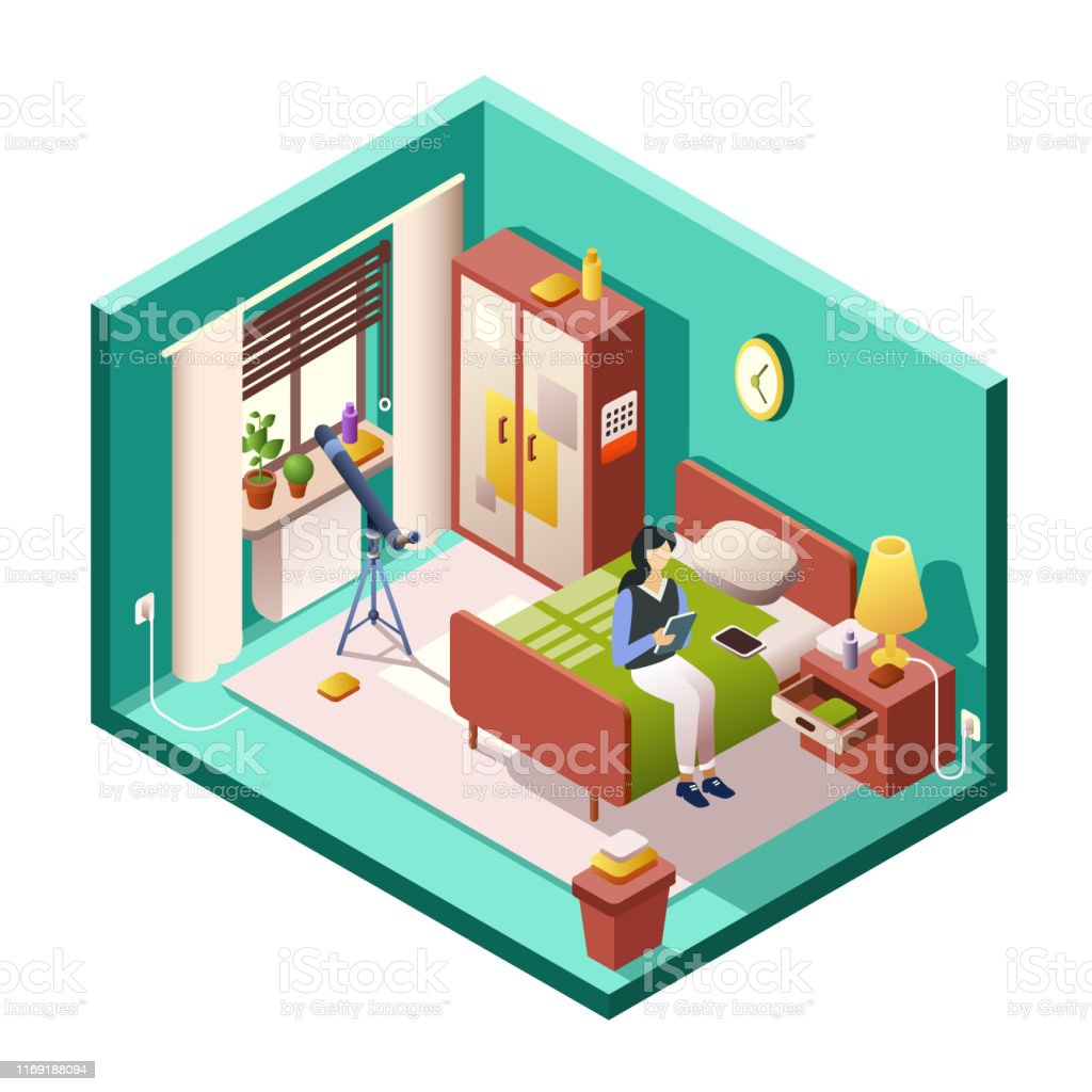Girl Or Woman Bedroom Vector Illustration Of Isometric Room Cross Section Stock Illustration Download Image Now Istock