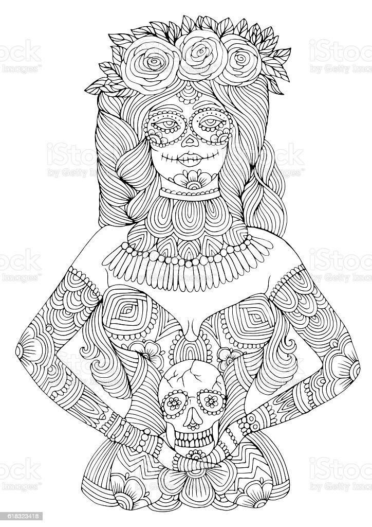 Girl With Calavera Makeup Holding Sugar Skull Halloween