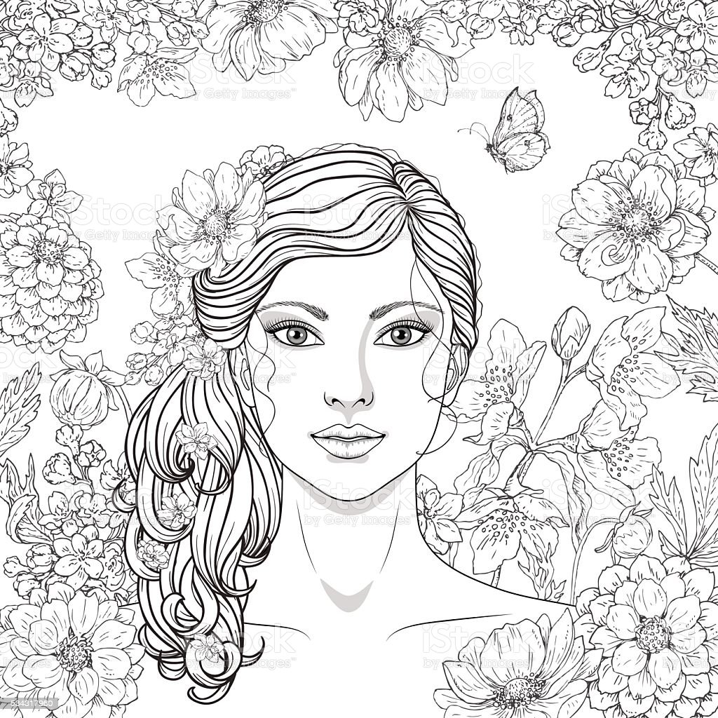 Girl With Flowers And Butterfly Stock Vector Art & More